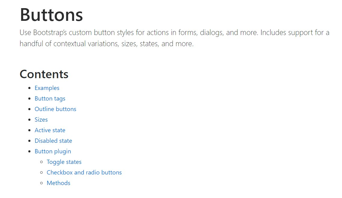Bootstrap buttons  authoritative documentation