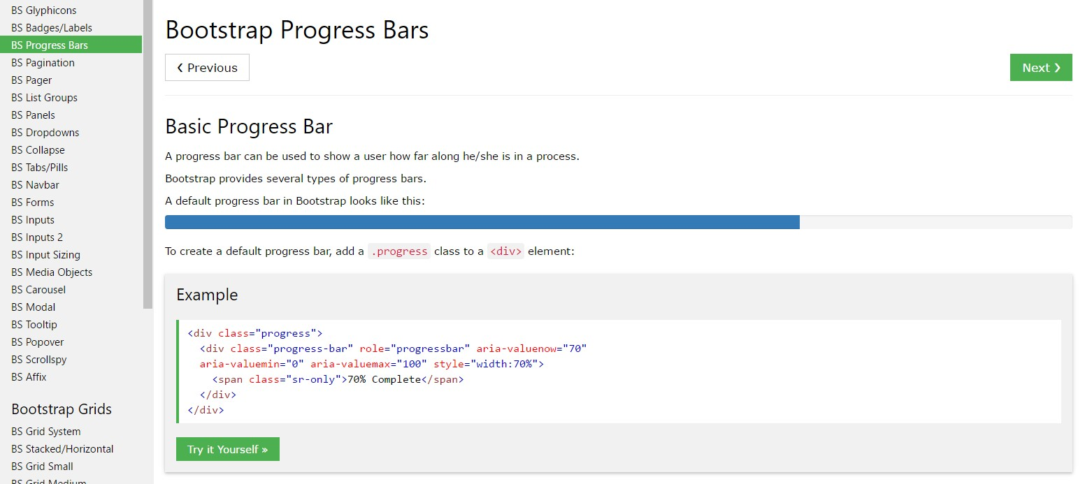 Bootstrap progress bar  article