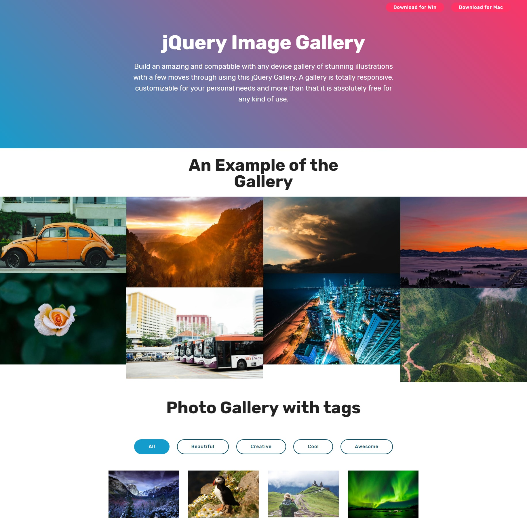 Mobile Bootstrap Photo Gallery