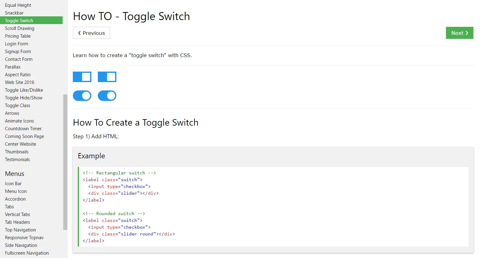Ways to  develop Toggle Switch