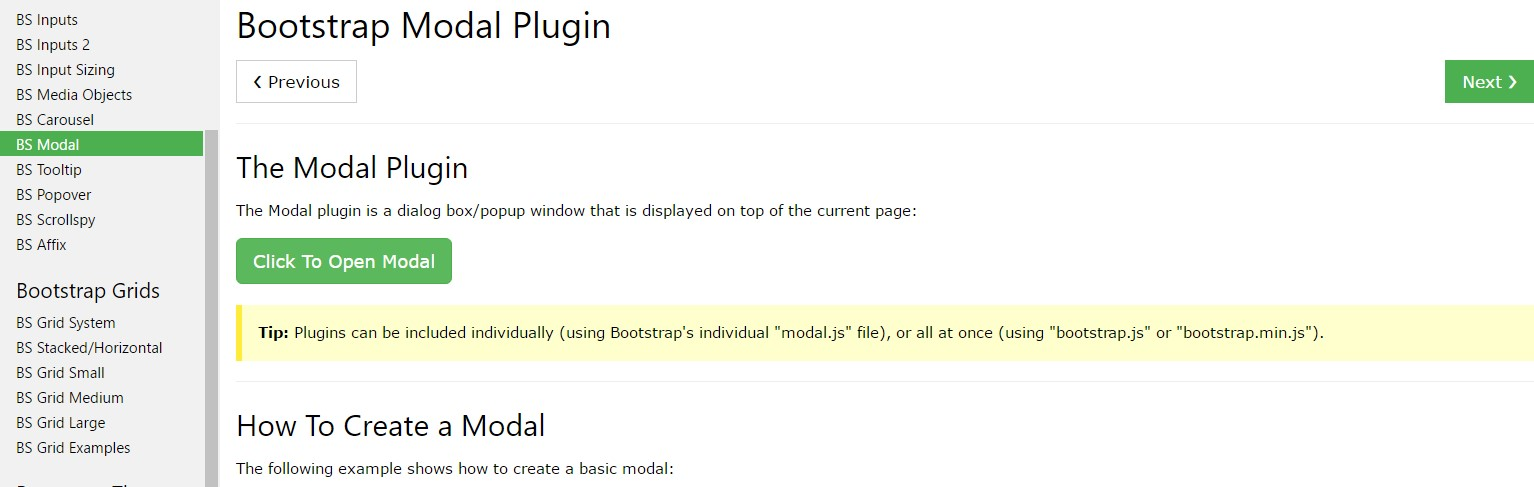 Bootstrap Modal Popup:  guide  guide