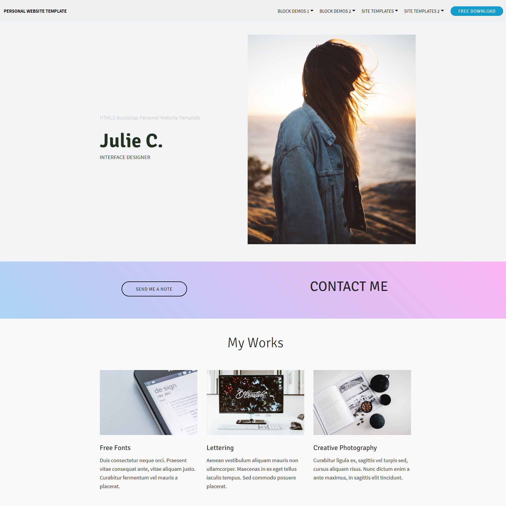 HTML5 Bootstrap Personal Website Themes