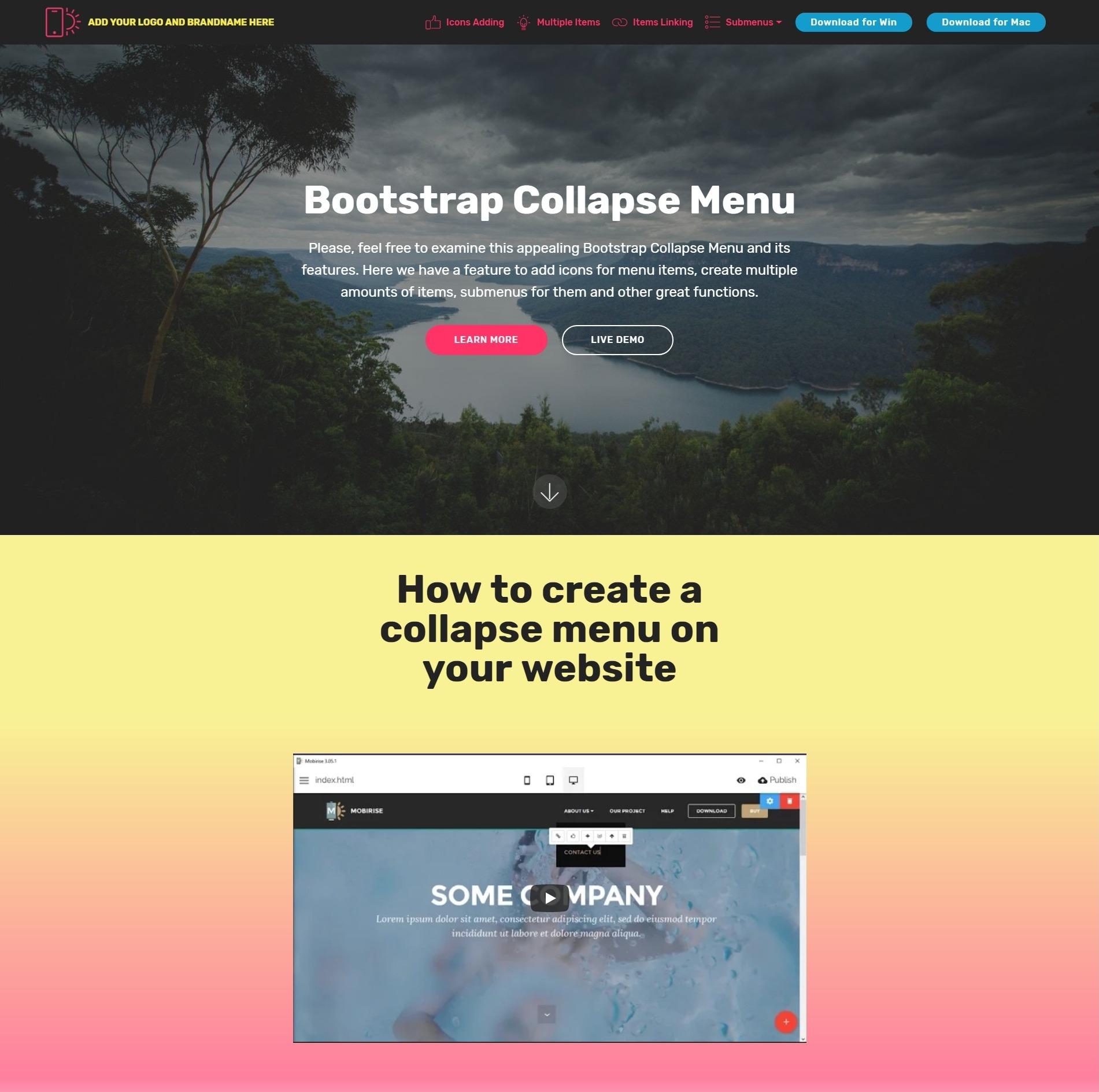 Bootstrap Collapse Menu